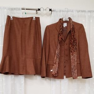 3 piece skirt and jacket BEAUTIFUL with scarf
